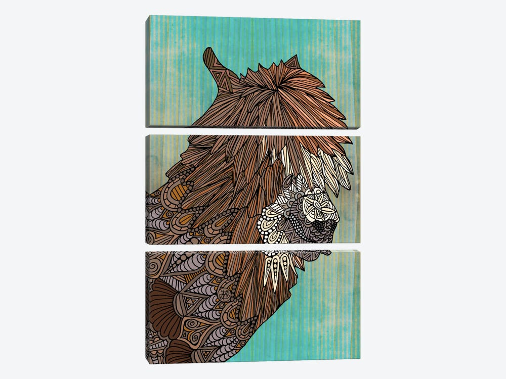 Ornate Llama by Angelika Parker 3-piece Canvas Wall Art