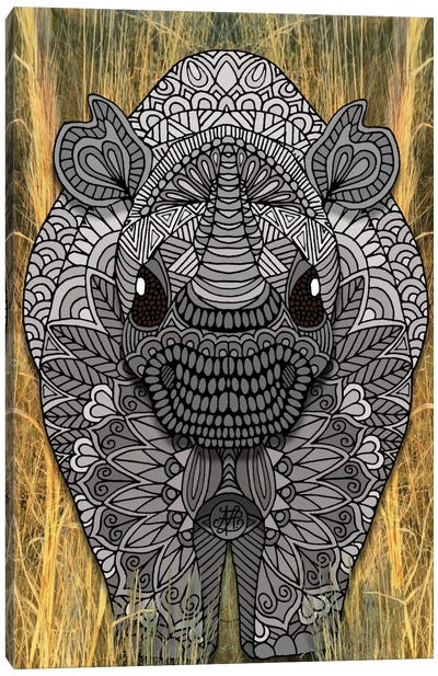 Ornate Rino Canvas Art Print