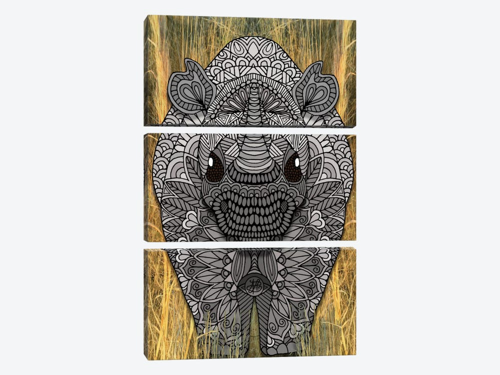 Ornate Rino by Angelika Parker 3-piece Canvas Print