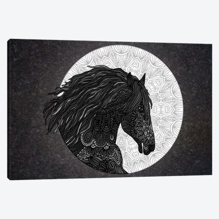 Black Horse Canvas Print #ANG7} by Angelika Parker Canvas Wall Art