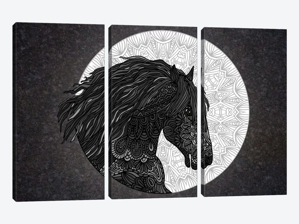 Black Horse by Angelika Parker 3-piece Canvas Artwork