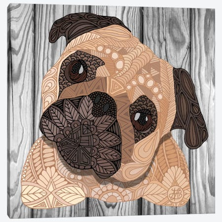 Pug Hug Canvas Print #ANG81} by Angelika Parker Canvas Art Print