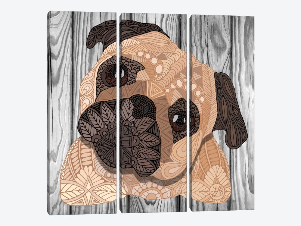 Pug Hug by Angelika Parker 3-piece Canvas Art Print