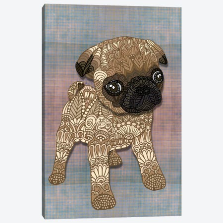 Pug Puppy Canvas Print #ANG82} by Angelika Parker Canvas Print