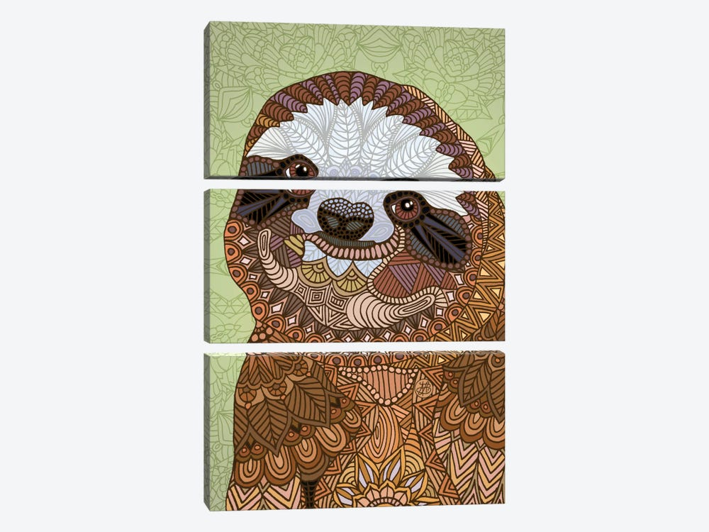 Smiling Sloth by Angelika Parker 3-piece Canvas Art Print
