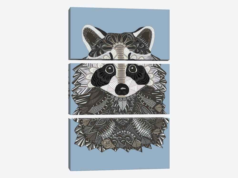 Tangled Raccoon by Angelika Parker 3-piece Canvas Art Print