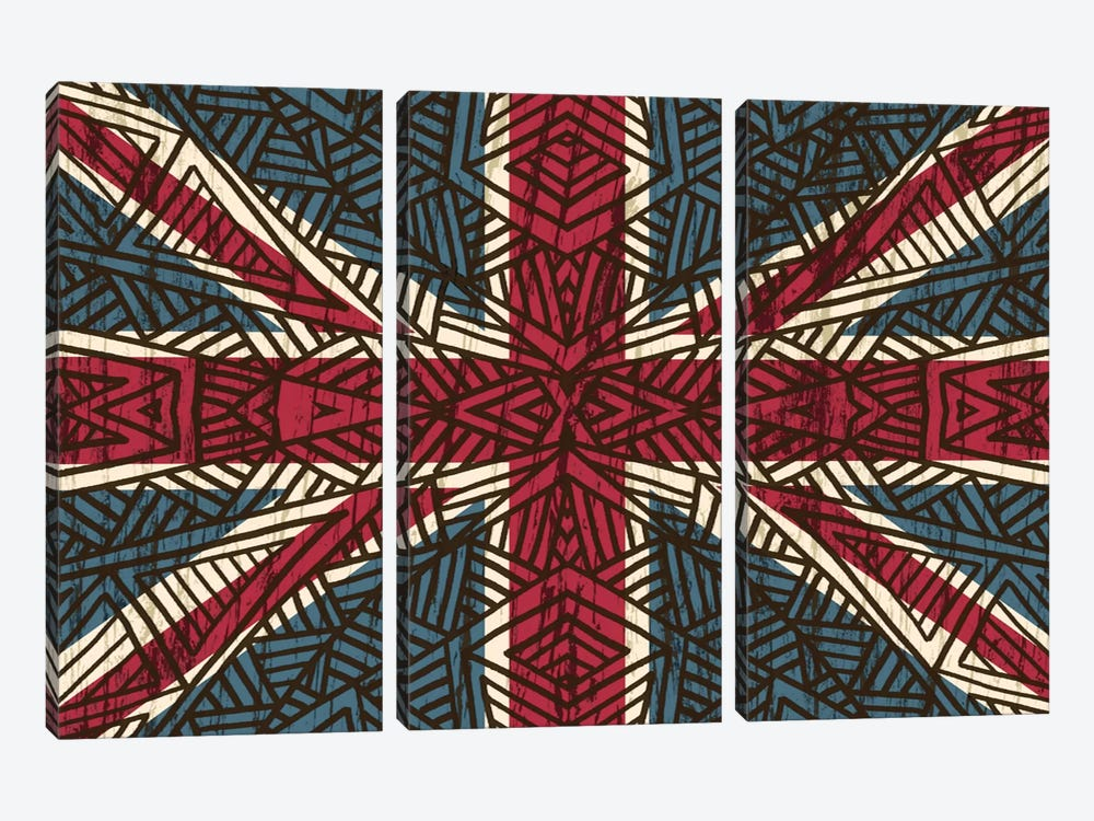 Union Jack - Vintage Tribal by Angelika Parker 3-piece Canvas Wall Art