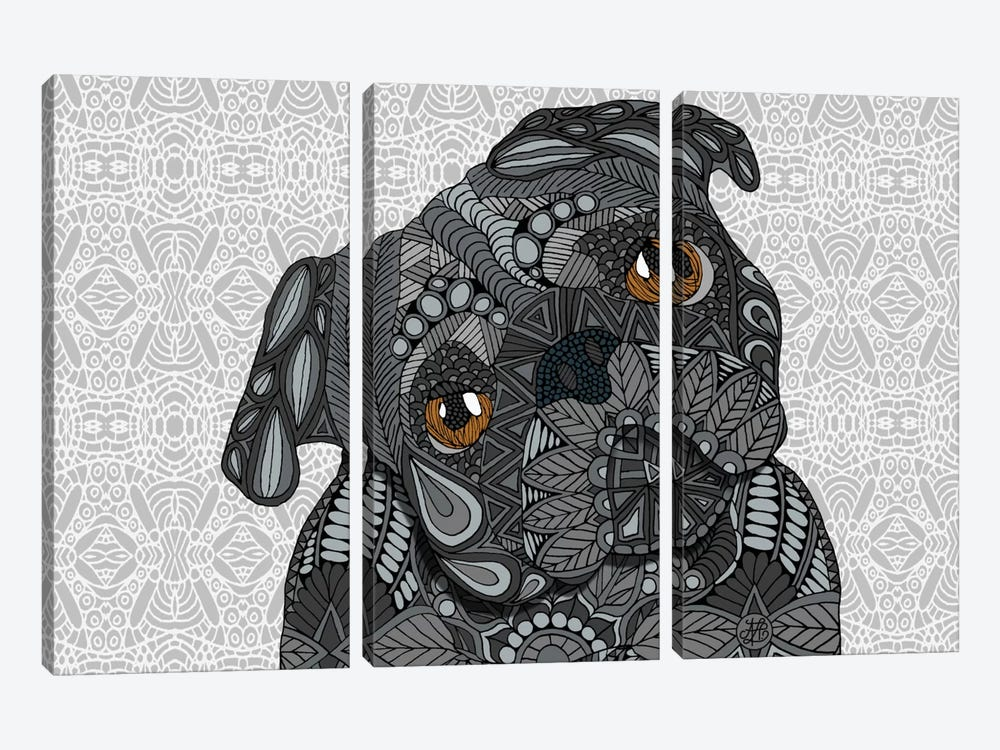 Black Pug by Angelika Parker 3-piece Canvas Wall Art