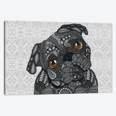 Black Pug Canvas Print #ANG9} by Angelika Parker Canvas Print