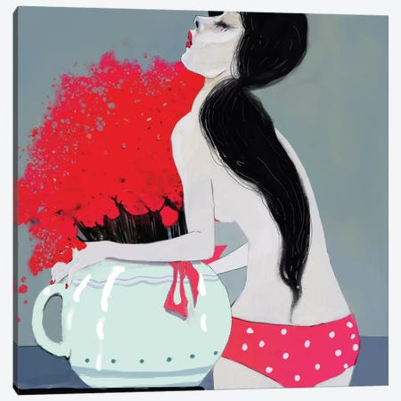 Pink Bikini Canvas Print #ANI38} by Anikó Salamon Canvas Art