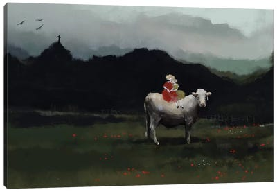 Girls On The Cow Canvas Art Print