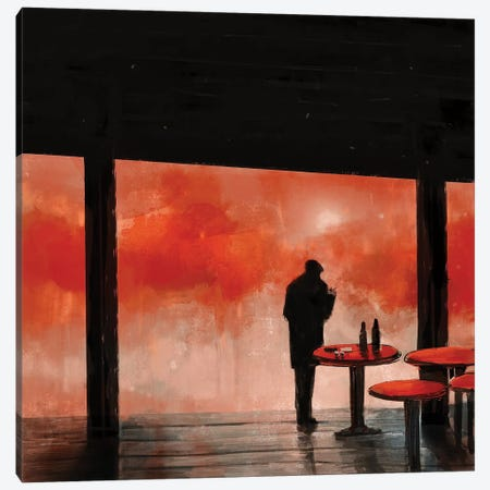 Man In Red Fog Canvas Print #ANI63} by Anikó Salamon Art Print