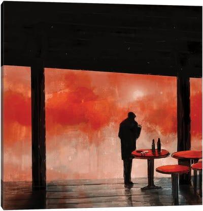 Man In Red Fog Canvas Art Print