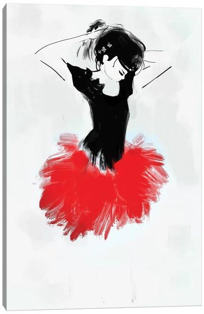 Ballerina Red Canvas Art Print
