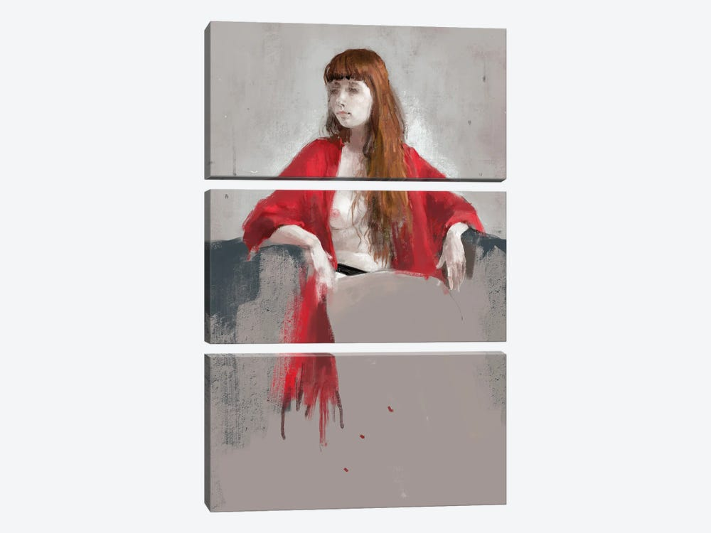 Portrait Of Youngness by Anikó Salamon 3-piece Canvas Art