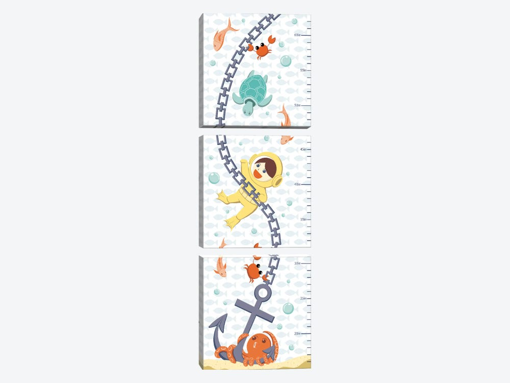 Creatures Of The Sea Growth Chart by 5by5collective 3-piece Canvas Wall Art