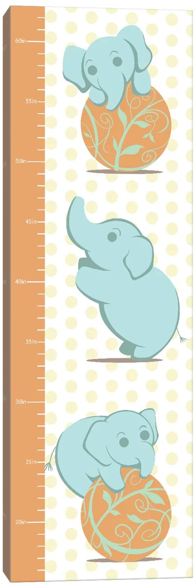 Play Like An Elephant Growth Chart Canvas Art Print