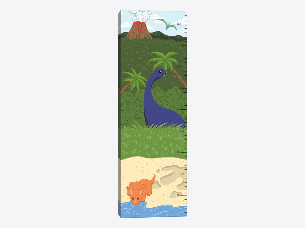 The Age Of Dinosaurs Growth Chart by 5by5collective 1-piece Canvas Wall Art