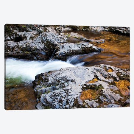 USA, Tennessee. Reflections along the Little River in the Smoky Mountains. Canvas Print #ANN22} by Joanne Wells Canvas Wall Art