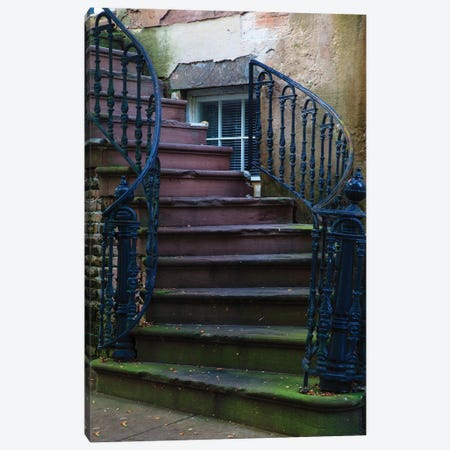 USA, Georgia, Savannah. Wrought iron railing at home in the Historic District. Canvas Print #ANN7} by Joanne Wells Canvas Art Print
