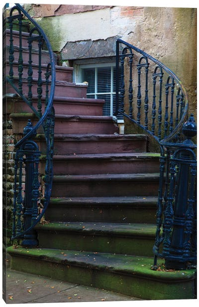 USA, Georgia, Savannah. Wrought iron railing at home in the Historic District. Canvas Art Print