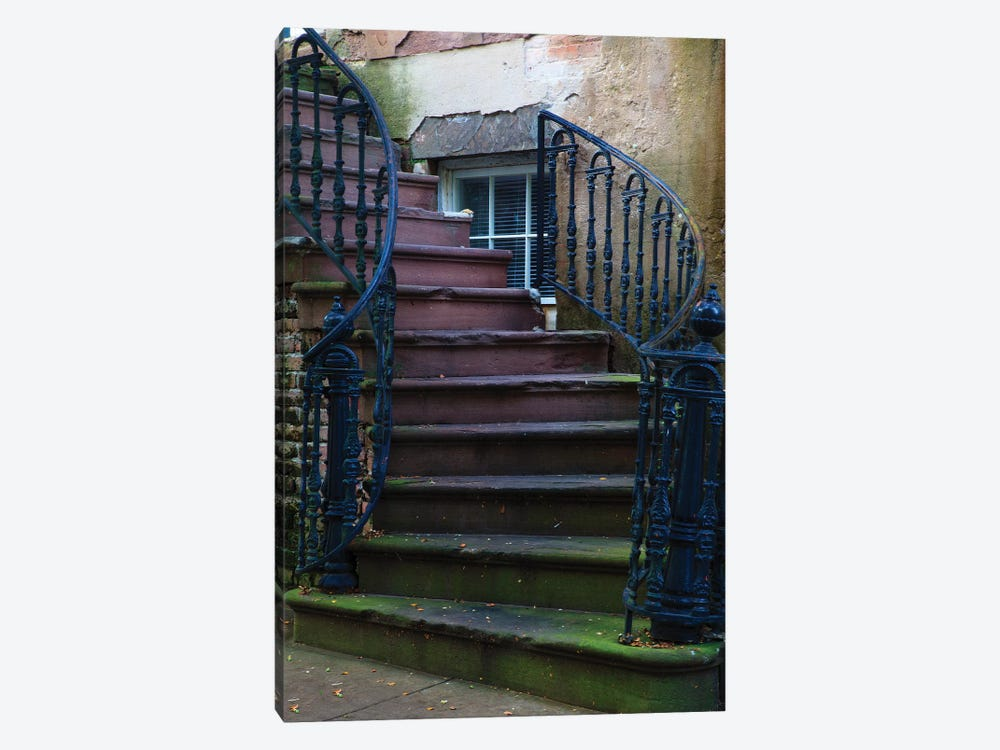 USA, Georgia, Savannah. Wrought iron railing at home in the Historic District. by Joanne Wells 1-piece Art Print