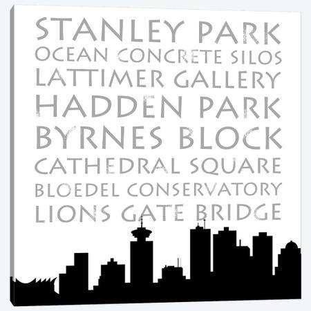 Vancouver Skyline Square Canvas Print #ANQ29} by Anna Quach Canvas Print