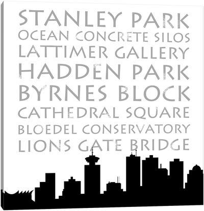 Vancouver Skyline Square Canvas Art Print