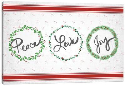 Holly Wreath Trio Canvas Art Print