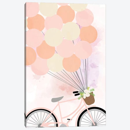 Bike Ride with Balloons Canvas Print #ANQ59} by Anna Quach Canvas Wall Art