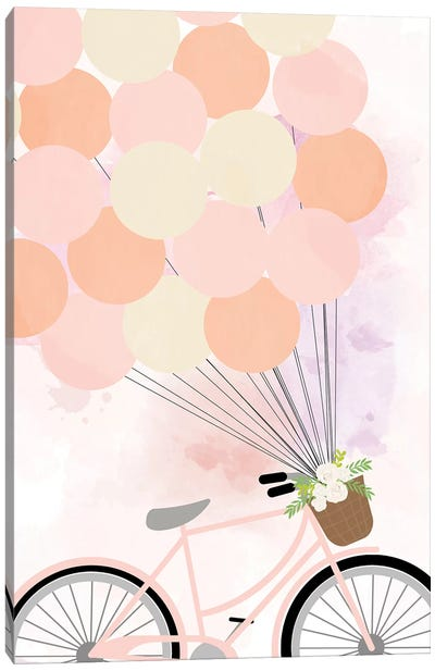 Bike Ride with Balloons Canvas Art Print