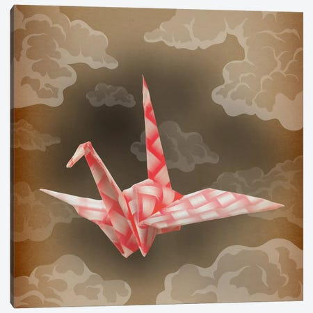 The Fleeting Paper Crane Vintage Canvas Print #AOO9} by 5by5collective Canvas Wall Art