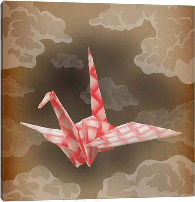 The Fleeting Paper Crane Vintage Canvas Print #AOO9