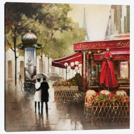 Paris in the Rain Canvas Print #AOR6} by E.A. Orme Canvas Print