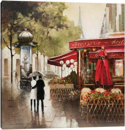 Paris in the Rain Canvas Art Print