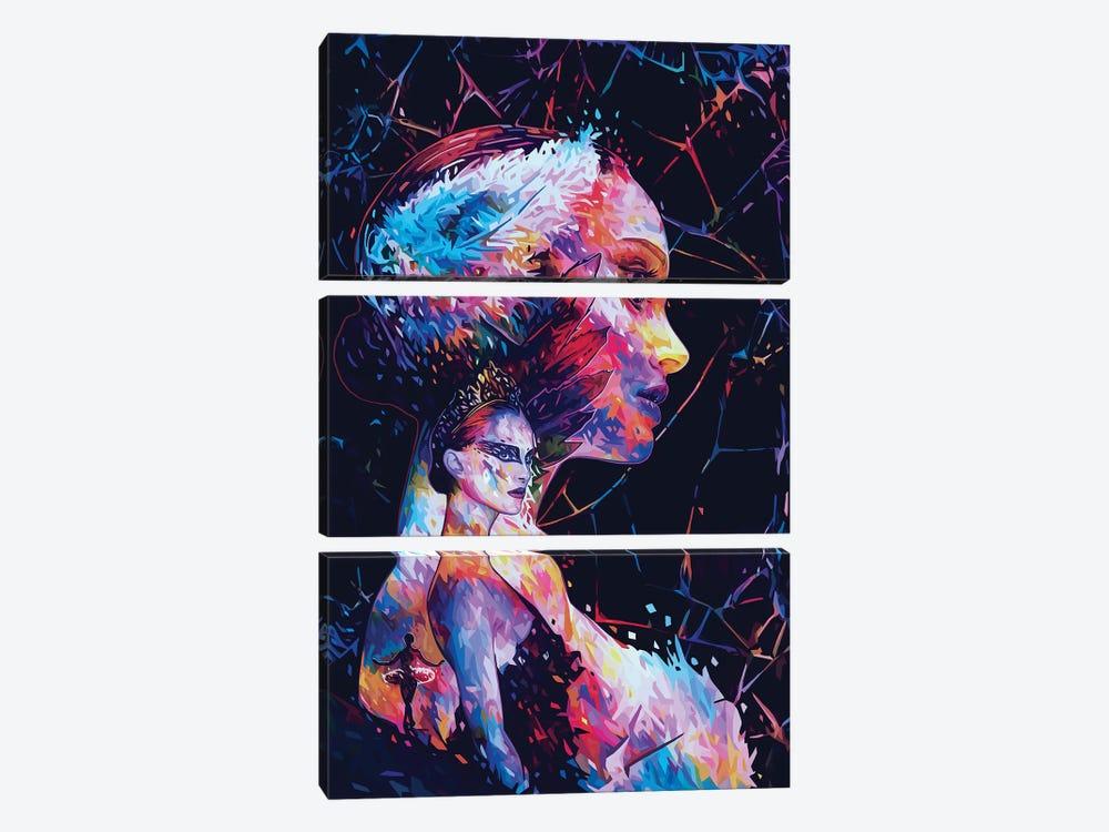 Black Swan by Alessandro Pautasso 3-piece Canvas Art Print