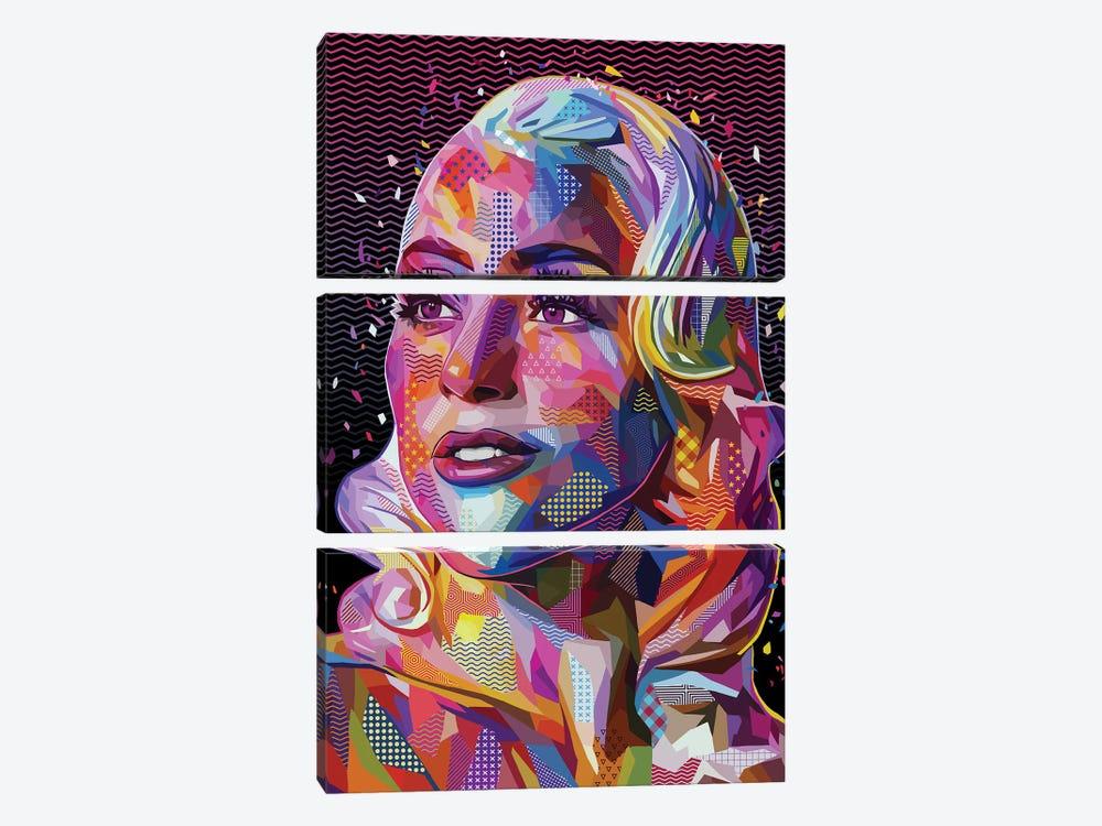 Lady Gaga Pop by Alessandro Pautasso 3-piece Canvas Wall Art