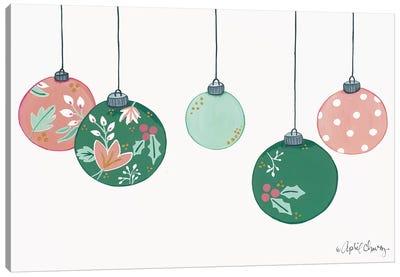 Floral Christmas Ornaments Canvas Art Print