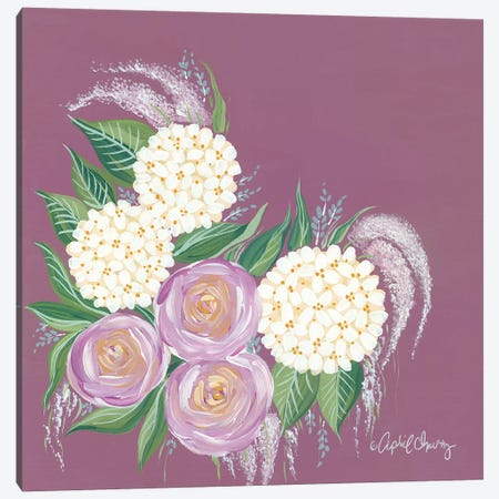 Floral in Plum Canvas Print #APC14} by April Chavez Art Print
