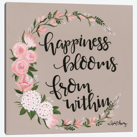 Happiness Blooms From Within Canvas Print #APC17} by April Chavez Canvas Art Print