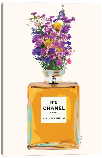 Chanel And Flowers Canvas Art Print