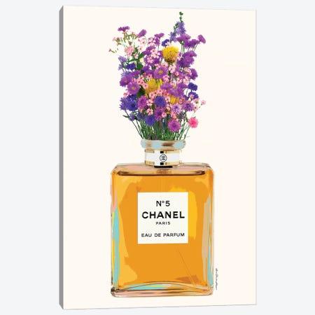 Chanel And Flowers Canvas Print #APH19} by Ana Paula Hoppe Canvas Art Print