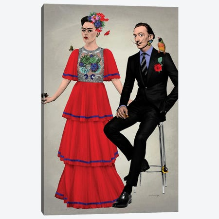 Frida & Dali Canvas Print #APH27} by Ana Paula Hoppe Canvas Print