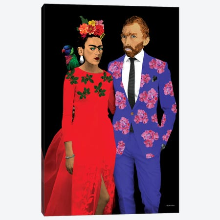 Frida & Gogh Canvas Print #APH28} by Ana Paula Hoppe Canvas Artwork