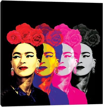 Fridas On Black Canvas Art Print