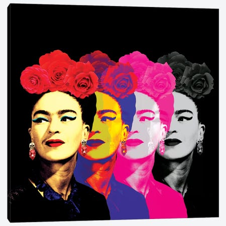 Fridas On Black Canvas Print #APH30} by Ana Paula Hoppe Art Print