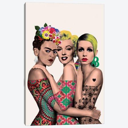 Kahlo, Monroe And Twiggy Canvas Print #APH35} by Ana Paula Hoppe Canvas Artwork