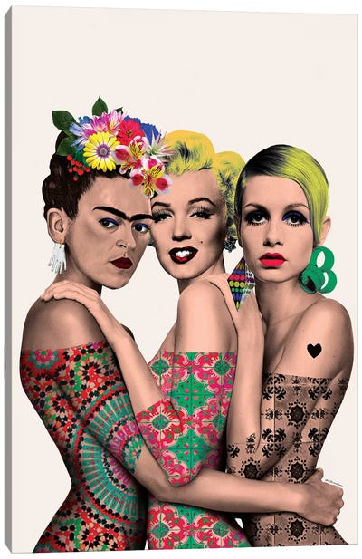Kahlo, Monroe And Twiggy Canvas Art Print