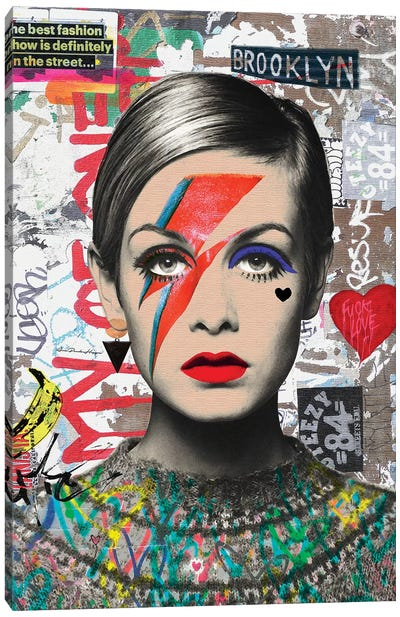 Twiggy Street Art Canvas Art Print