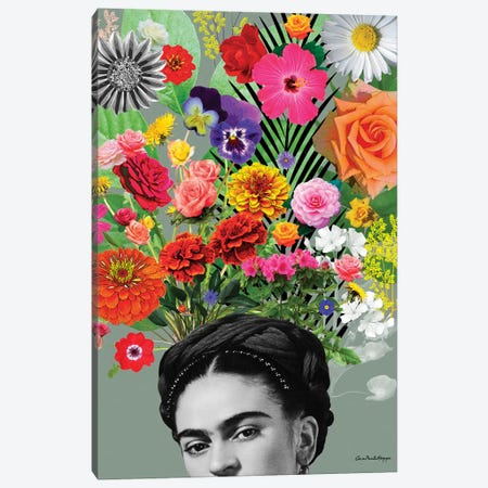 Frida & Flor Canvas Print #APH62} by Ana Paula Hoppe Canvas Wall Art